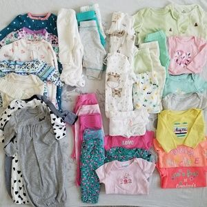 Large (37 pcs) Mixed Baby Clothes Bundle NB to 6m